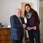 ректор Адам Мијак са проф. Нинославом Вићентић, продеканом Факултета примењених уметности